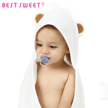 Sized for Infant and Toddler Soft Baby Bamboo Fabric Hooded Towel with Bear Ears In Plain White Color