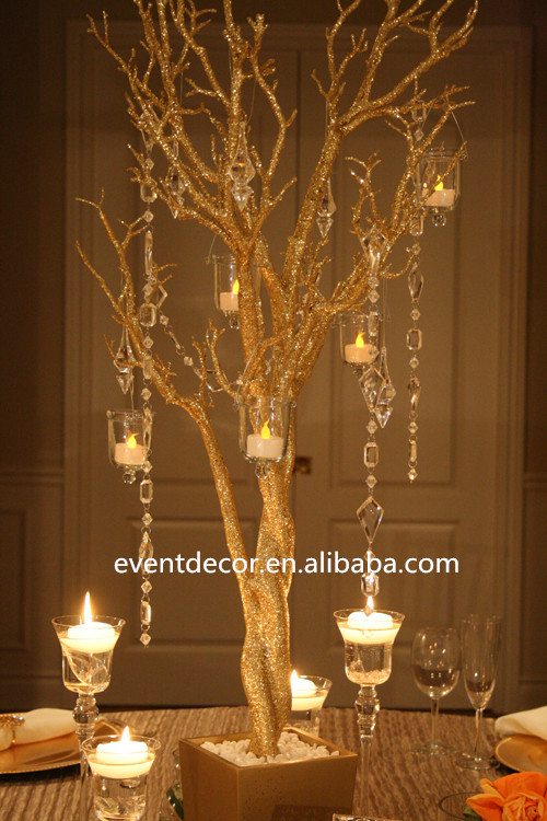 Gold wedding tree branches for decorations gilding