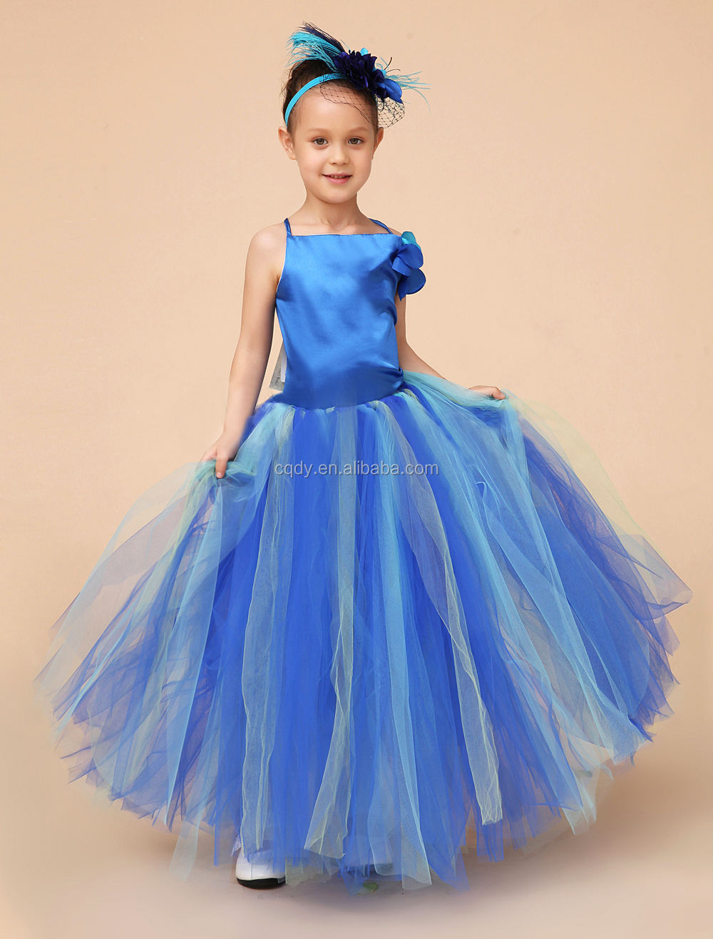 Fashion Flower Sky Blue Dress For Baby Kids Child Bout Ique Clothes Party Wedding