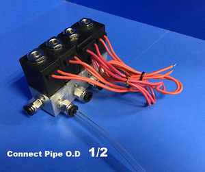 4pcs plastic manifold connet pipe O.D 1/2 Pneumatic direct act solenoid valve 24V DC gas set 2 way valve manifold