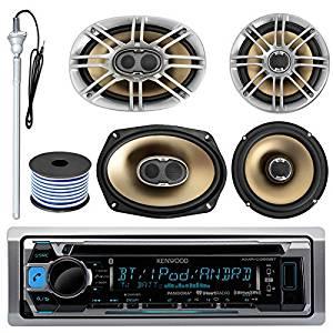 "Kenwood KMR-D365BT MP3/USB/AUX CD Bluetooth Marine Boat Stereo Receiver Bundle Combo W/ 2 Polk 6.5"" Audio Speakers + 2x 6X9"" 3-Way Coaxial Speaker + Enrock 22"" Radio Antenna + 50FT Speaker Wire"