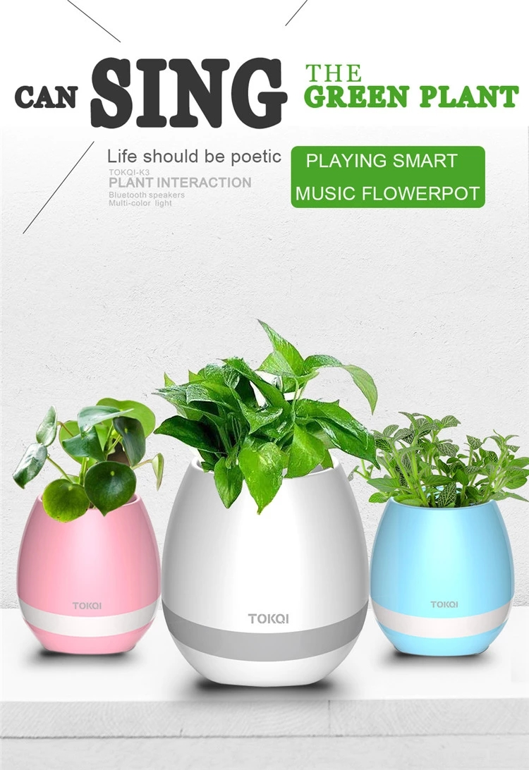 Smart Music Flowerpot, Touch Real Plant Piano Music Playing Flower Pot Rechargeable Bluetooth Speaker with Colorful Night Light