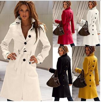 2016 Fashion Coat Wool Long Knee Length Women Coat Winter Coats ...