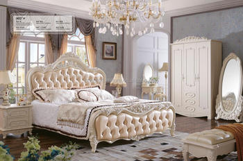 White Wedding Romantic Solid Wood King Size Bedroom Furniture Set ...