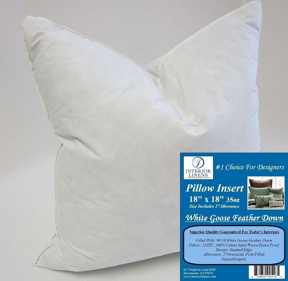 "18"" x 18"" 35oz. Pillow Insert: 90/10 White Goose Feather Down - 2"" Oversized & Firm Filled (Actual Size: 20""x20"")"