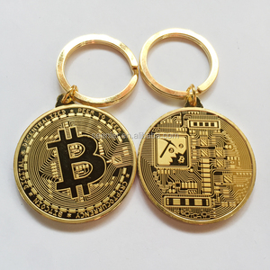 2017 new design zinc die struck gold silver bronze plated fashion popular bitcoin metal keychain