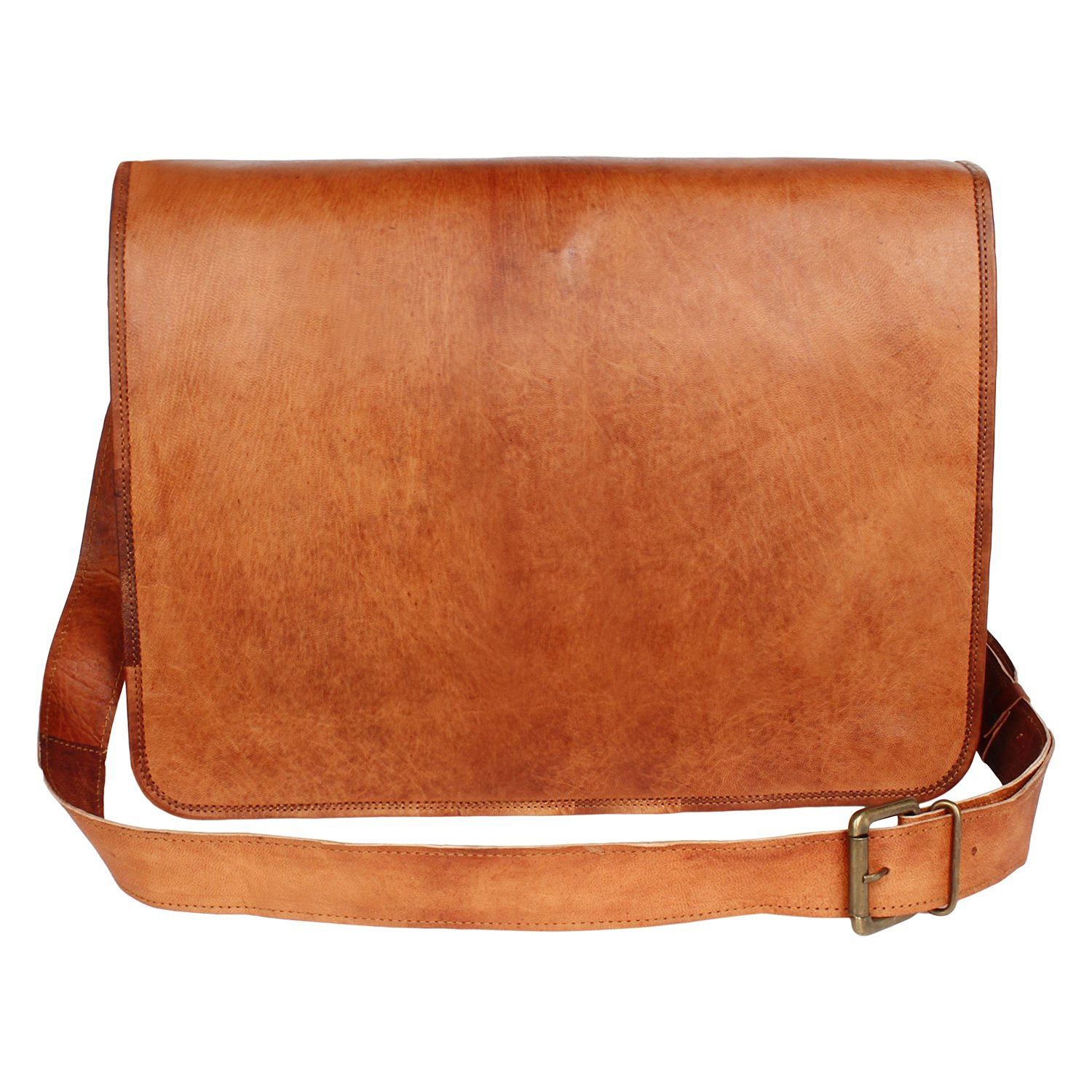 Get Quotations · Dios® Brown Leather Full Flap Messenger Handmade Bag 0f9b5cd0cbae2