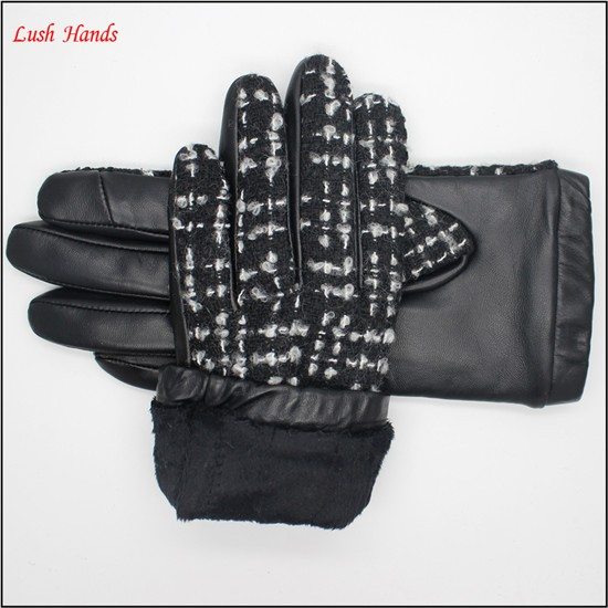 fashion sheep leather and black and white fabric women touchscreen leather gloves