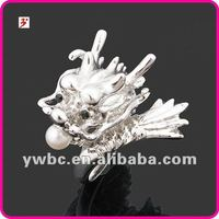 Cheap silver imitation pearl Chinese dargon alloy ring (R100255)