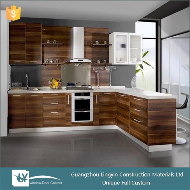 2015 New Popular Hpl Kitchen Cabinet With Wood Grain Color