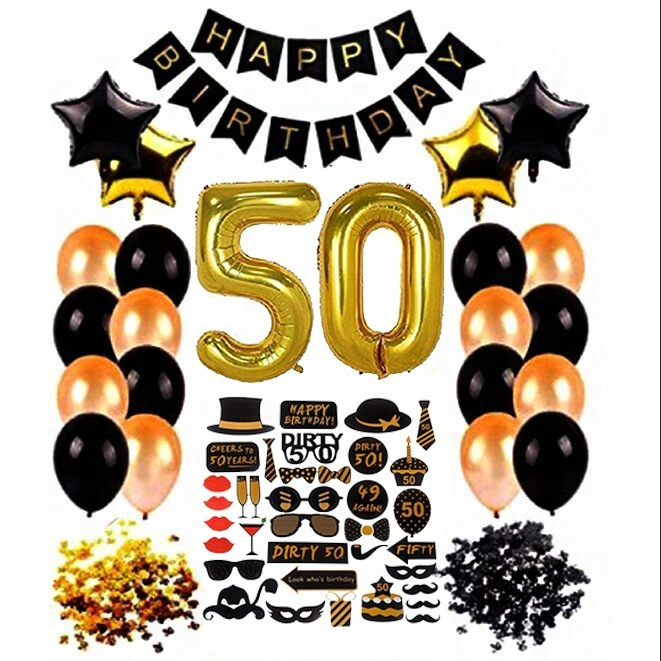 50th Birthday Ideas Banner Latex Balloon Photo Booth Props Party Decoration Set