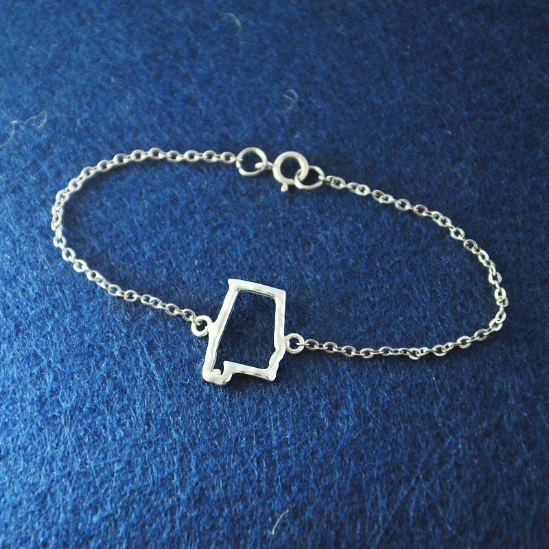 Alabama Charm Bracelet: Hollow Out State Bracelet,Alabama Jewelry,925 Sterling