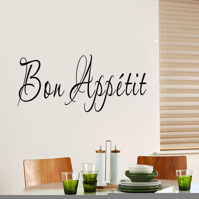 Bon Appetit French Quote Wall Sticker Removable Home Living Room Kitchen Decor DIY Art Decal Restaurant Decoration