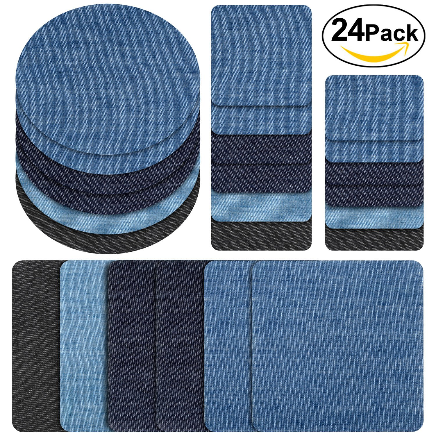 Denim iron on patches for jeans, Iron on denim patches large, Patches for clothing repair, Yosemy 24pcs Strongest iron on denim jean patches inside ,6 Colors