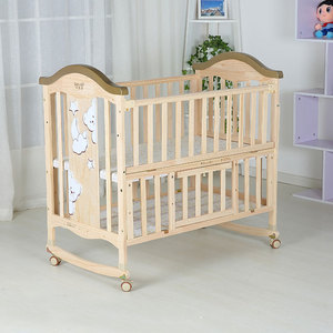 Natural color baby swing cot/converting from baby cribs to adult baby crib with wheels