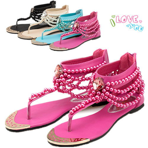 Beaded Toe Beach Shoes New Bohemian National Wind Beaded Flat Sandals PU Leather Sandals  Women Brand Sandals 2015 Beach Shoes