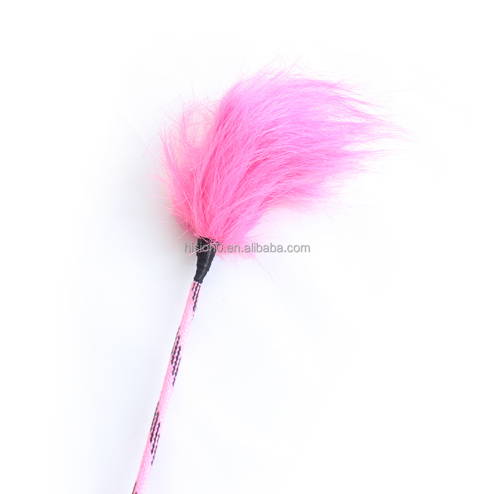 Funny Pink Feather Furry Tip Leather Handle Spanking Paddle Magic Tickler