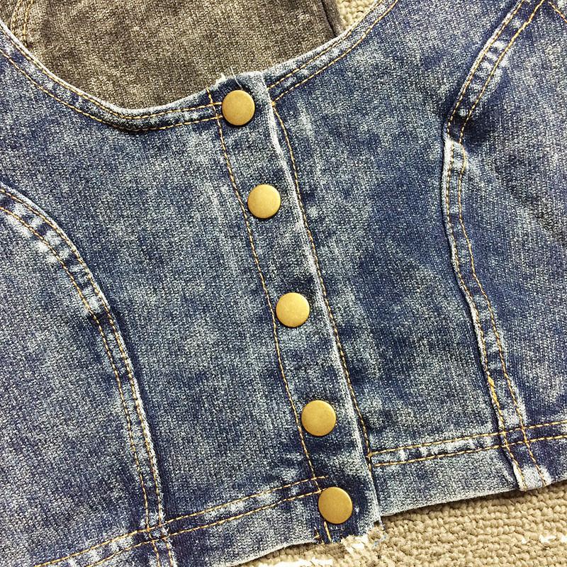 Высокое качество 2015 мода металла боты женщин топы сексуальные без бретелек трикотажные джинсовой бюстье бюстгальтер Bralette корсет ночной клуб джинсы танк