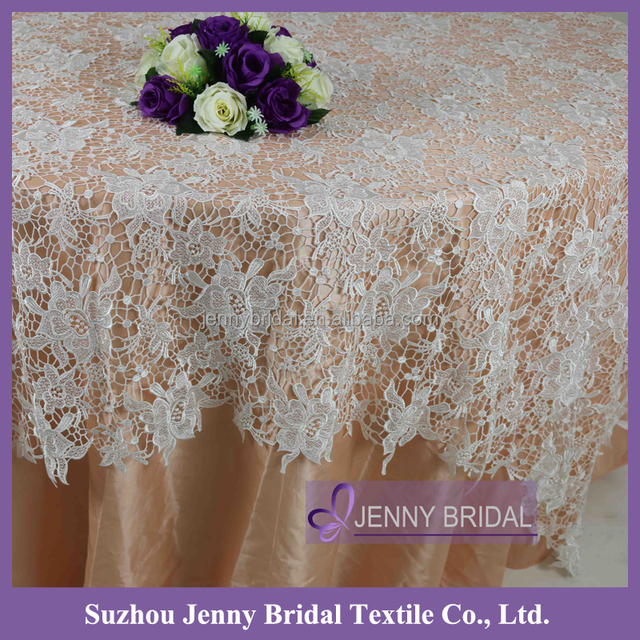 TL052A Fancy IVORY 90 Round Lace Tablecloths For Wedding