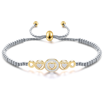 Can Adjustable Length Bracelets bangles Jewelry Stainless Steel Heart Crystal Charm Bracelets for women