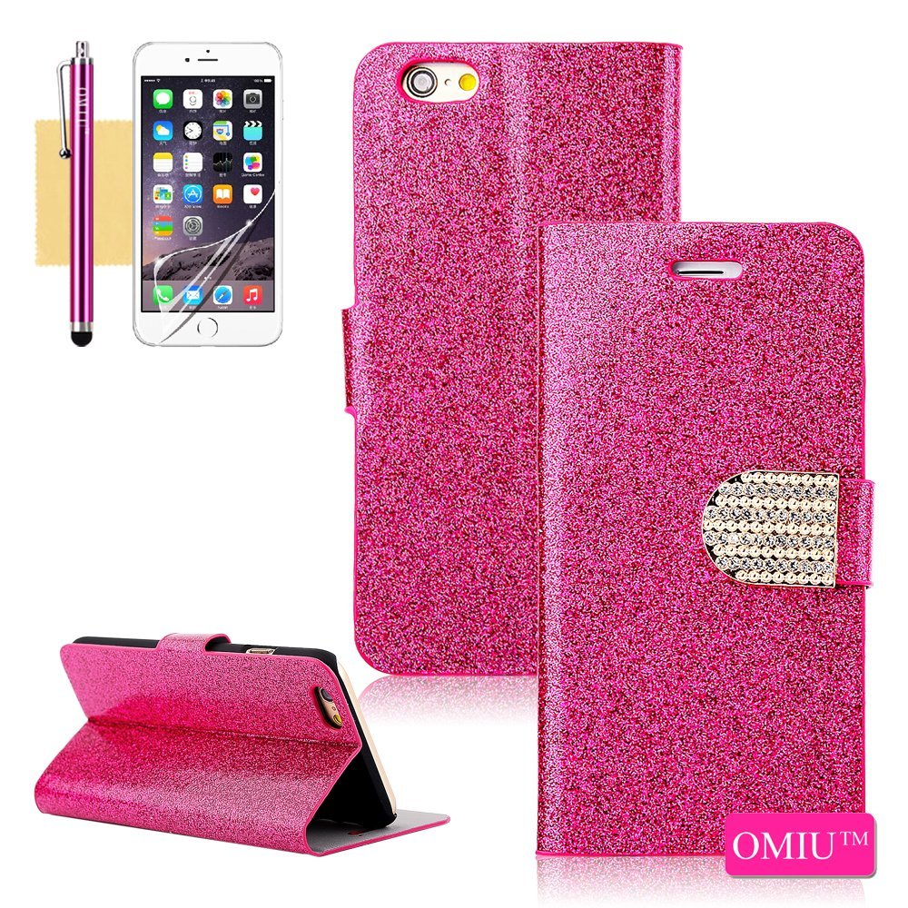iPhone 6 Case, OMIU(TM) [Glitter Crystal Bling Powder Shell Design] Bran-new Fashional Flip Magnet Wallet Premium PU Leather Stand Case Cover Protector Fit For Apple iPhone 6(4.7)(Rose Red), Sent Screen Protector+Stylus+Cleaning Cloth