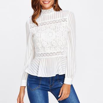 301b9d8521245e Guangzhou Wholesale Blouse Women Top Ruffle Lace Style High Neck Long Sleeve  Women White See Through