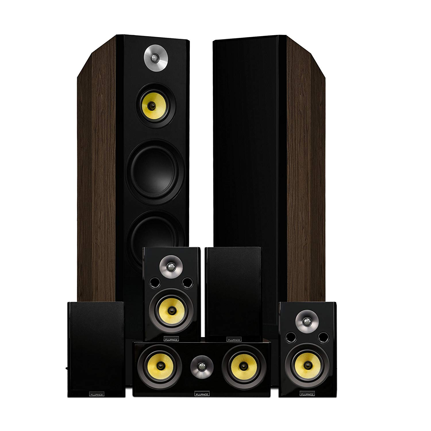 Fluance Signature Series Surround Sound Home Theater 7.0 Channel Speaker System including Three-way Floorstanding, Center, Surround & Rear Surround Speakers - Walnut (HF70WR)