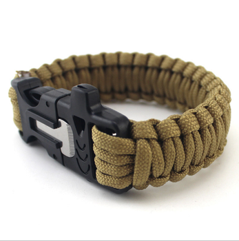 Whole Metal Clasp Survival 550 Cord Bracelet With Dog Tag