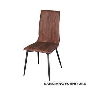 SANQIANG Dining room furniture Best price iron grey brown metal leg PU dining chair with classic design