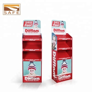 Custom Drugstore Pharmacy Folding Floor Cardboard Carton Medicine Bottles Rack Furniture Supplements Display Shelf Stand
