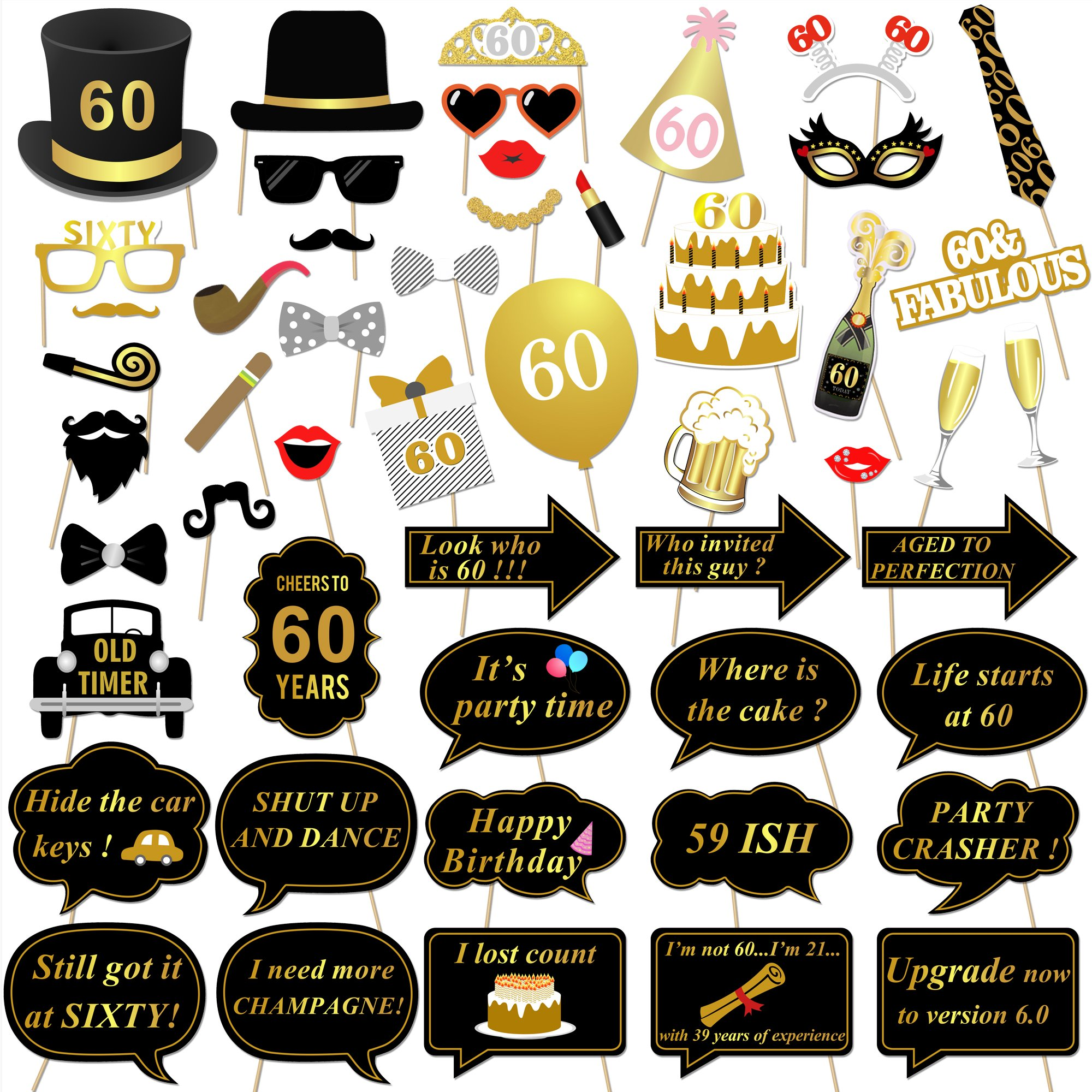 Get Quotations Konsait 60th Birthday Party Photo Booth Props 51Count For Her Him Gold