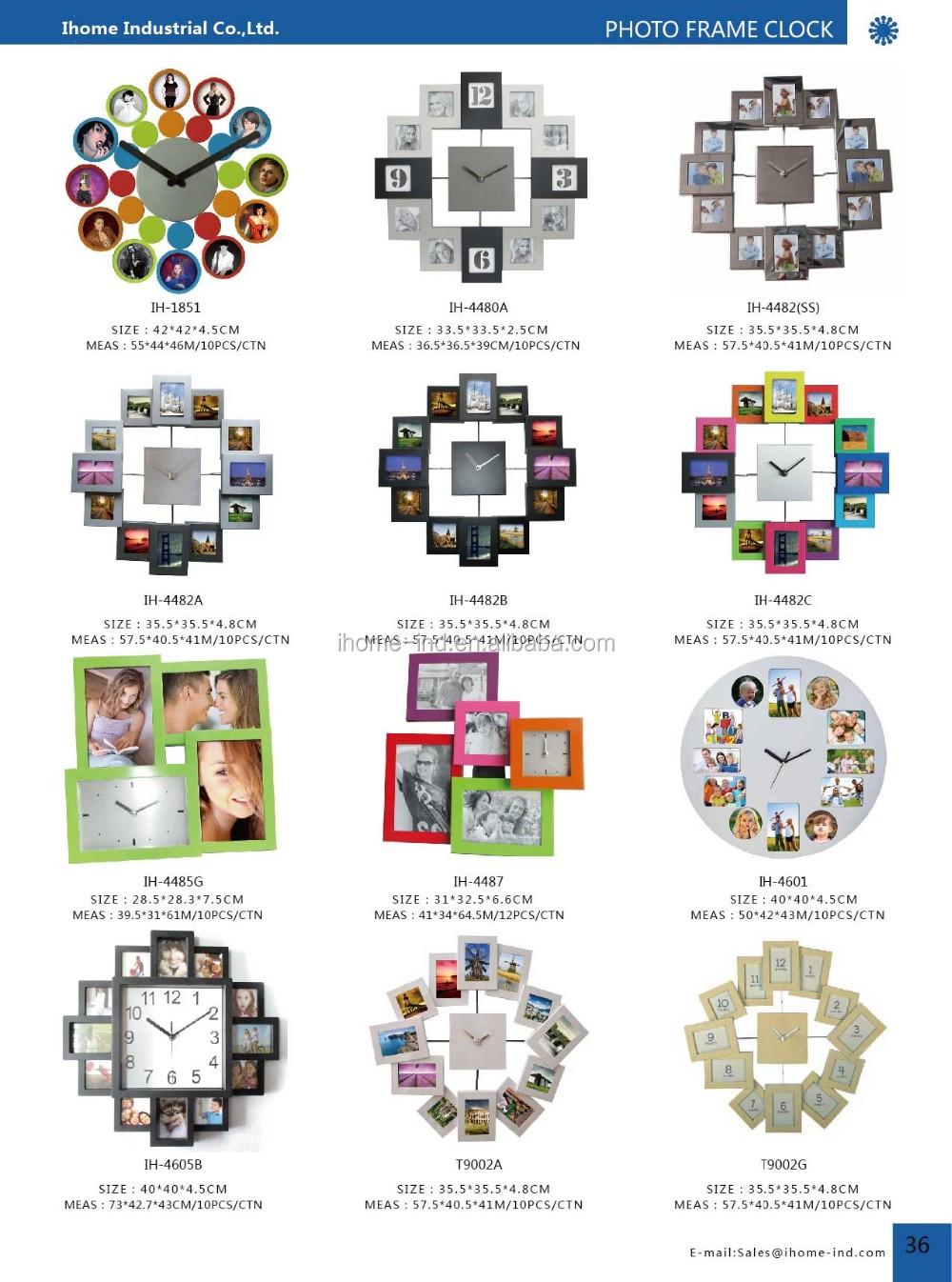 Modern Jam Dinding Bingkai Foto Diy Keluarga Desain Besar Persegi