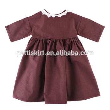 def56751d Classical Baby Clothes Wholesale Girls Plain Dark Red Dress Baby ...