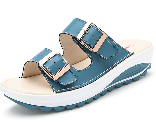 5bf474dd438 Get Quotations · New 2015 Summer Women Sandals Buckle Platform Genuine  Leather Slides Rubber Sole Soft Beach Slippers Wedges