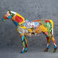 Popular Outdoor Decoration Painted Colorful Fiberglass Horse Statue