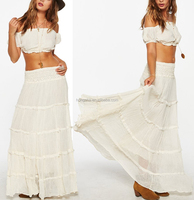 Bohemian Clothing Pictures Of Long Double Layer Gauze Skirts And Tops Cotton Maxi Skirt Design Ladies' Clothing HSS5663
