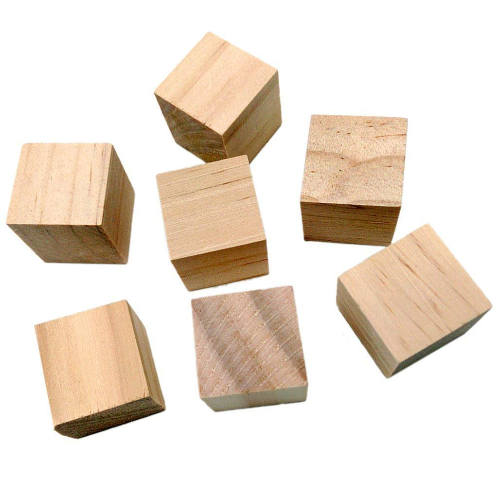 WINGONEER 50PCS Wooden Cubes - 25mm- Wood Square Blocks For Puzzle Making, Crafts & DIY Projects