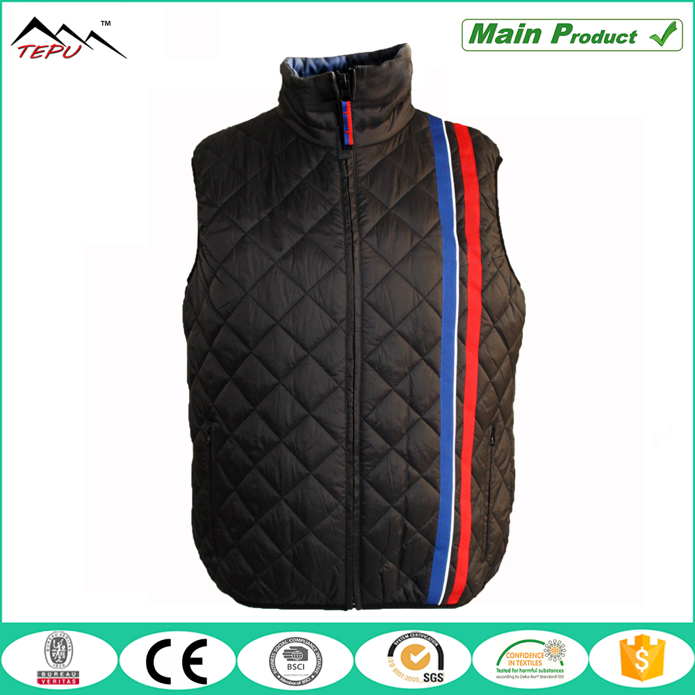 mens 100% polyester diamond padded quilted vest