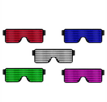 Rechargeable Light Up Neon Shutter LED Flashing Glasses Festival Rave Party LED Eye Glasses with 8 Modes