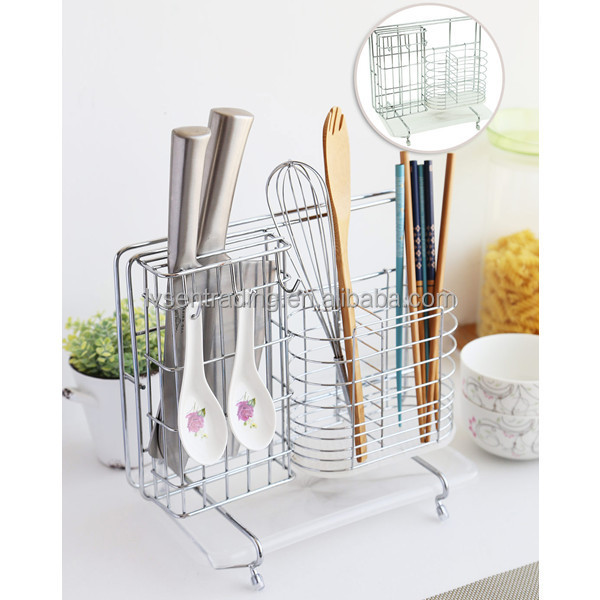 Chrome Plate Stainless Steel Metal Wire Kitchen Utensil Holder