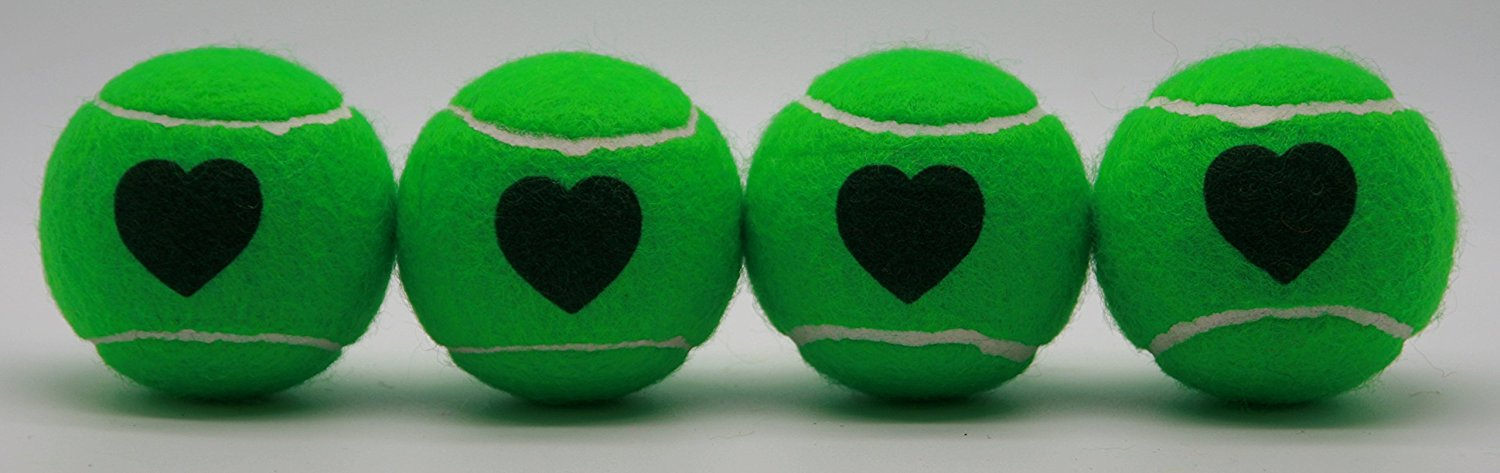 Price's Heart Motif Type 2 Tennis Balls Made in the UK (1 x 4 Ball Tube) Green, pressureless, durable and long lasting.