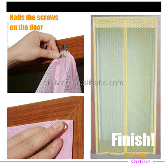 magic woven mesh magnetic door curtain