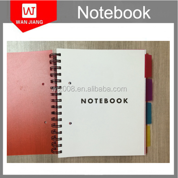 Guangdong factory a4 a5 spiral pp plastic transparent cover notebooks with tab divider