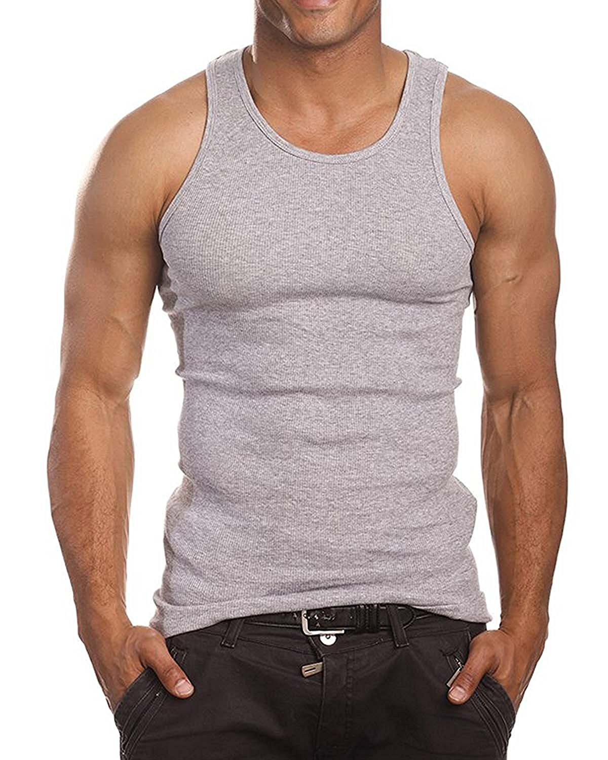 e7620d8e05ee Get Quotations · Opperiaya Men's Muscle Top Premium Cotton A-Shirt Beater  Ribbed Tank Top Vest