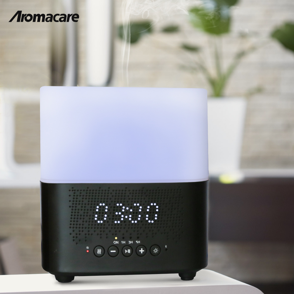Christmas Decor 2018 Night Light Bluetooth Speaker Aroma Diffuser Outstanding Design Oil Diffuser Wood <strong>Grain</strong> 300ml Humidifier