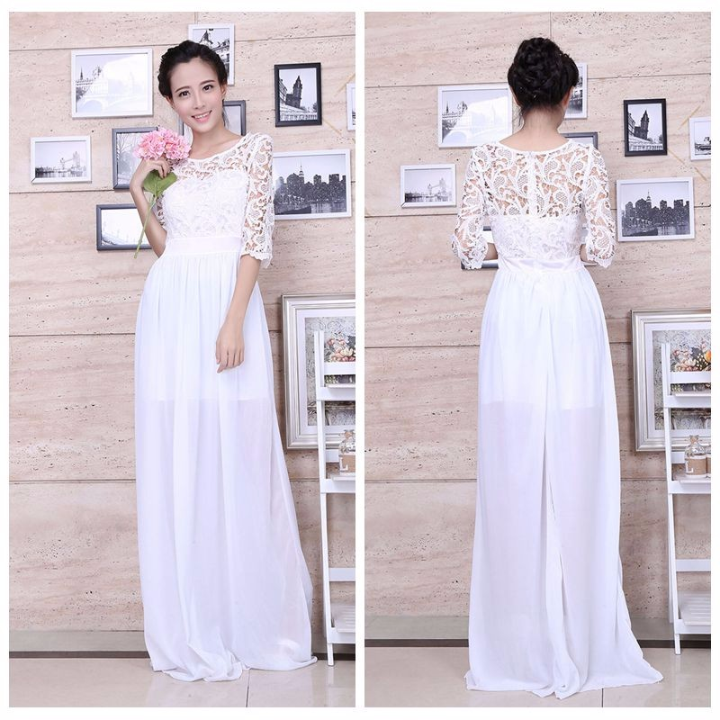 Women chiffon Party Dresses Sexy half sleeve white lace Maxi Dress long zip Skirt Evening Dresses