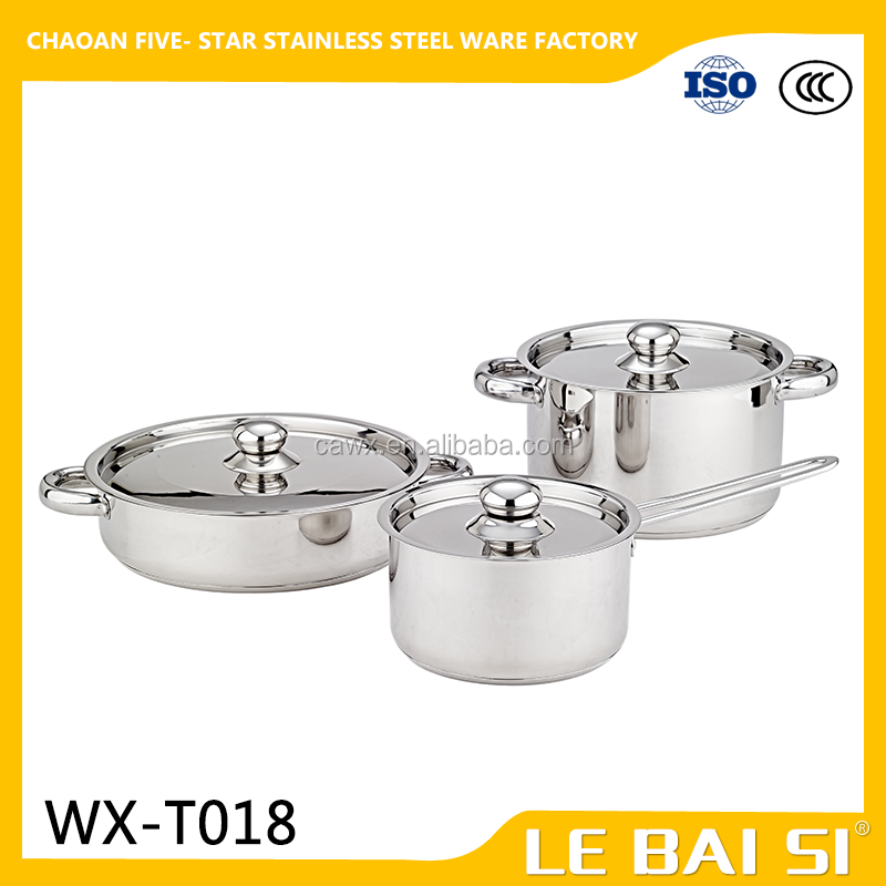 6 pcs stainless steel cookware High Quality 201 Stainless Steel