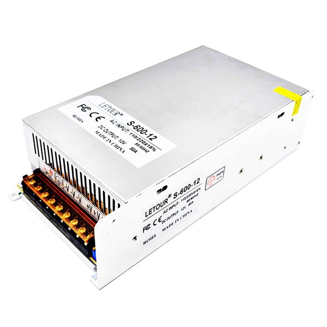 Letour LED Power Supply 12V 50A AC 96V-240V Converter Adapter DC S-600W-12 Power Supply for LED Lighting,LED Strip,CCTV