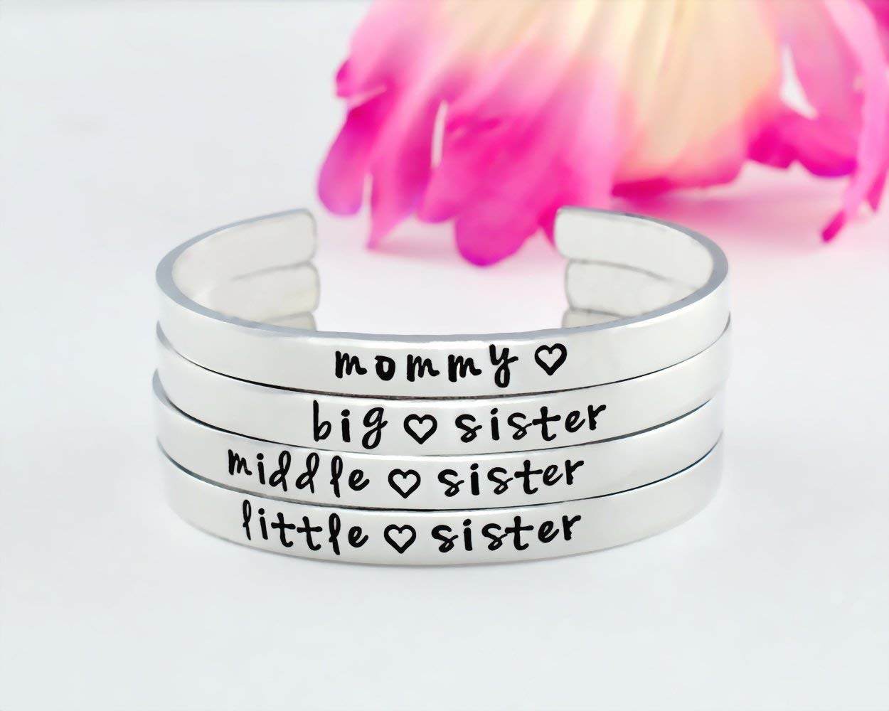 Mommy Big Middle Little Sister - Hand Stamped Aluminum Cuff Bracelets Set of 4, Mom Daughter Big Mid LiL Sis Jewelry, Family Love Mother's Day Personalized Gifts, V1
