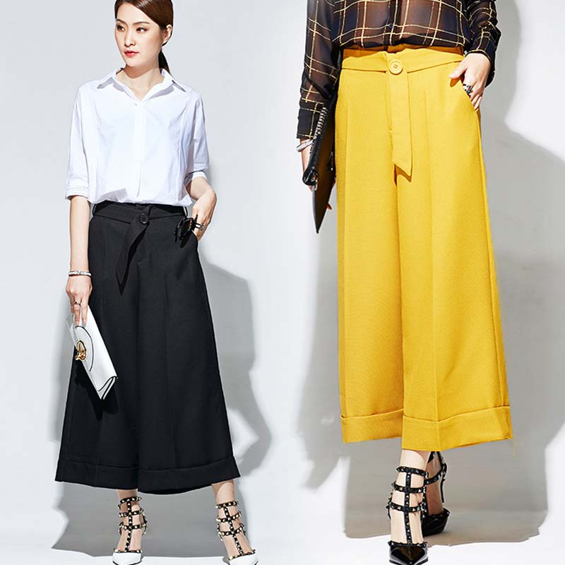 WA7066 top waist-ed pants high quality women wide leg trousers